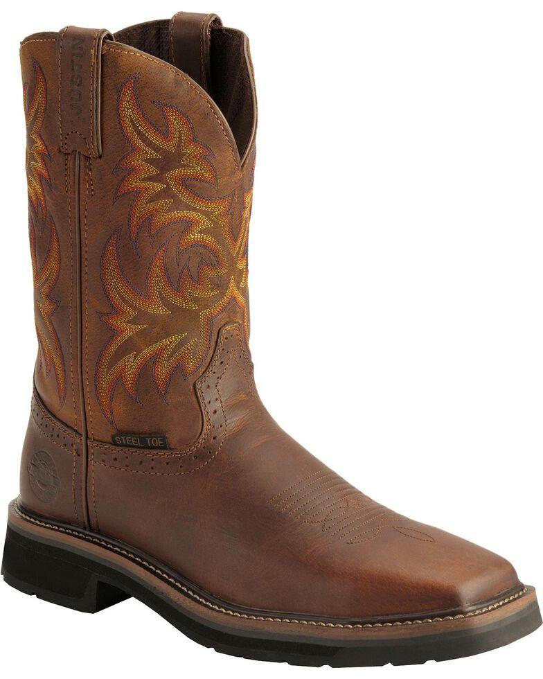 "Justin Men's 11"" Rugged Steel Toe Western Work Boots, Tan, hi-res"
