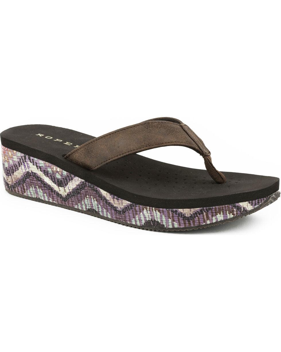 Roper Women's Wave Wedge Sandals, Brown, hi-res