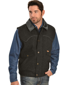 Powder River Outfitters Men's Snap-Front Wool Vest, Black, hi-res