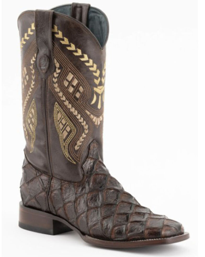 Ferrini Men's Bronco Brown Pirarucu Print Western Boots - Wide Square Toe, Brown, hi-res