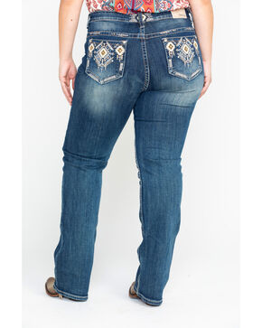 Grace In LA Women's Aztec-Detail Straight-Leg Jeans - Plus , Indigo, hi-res