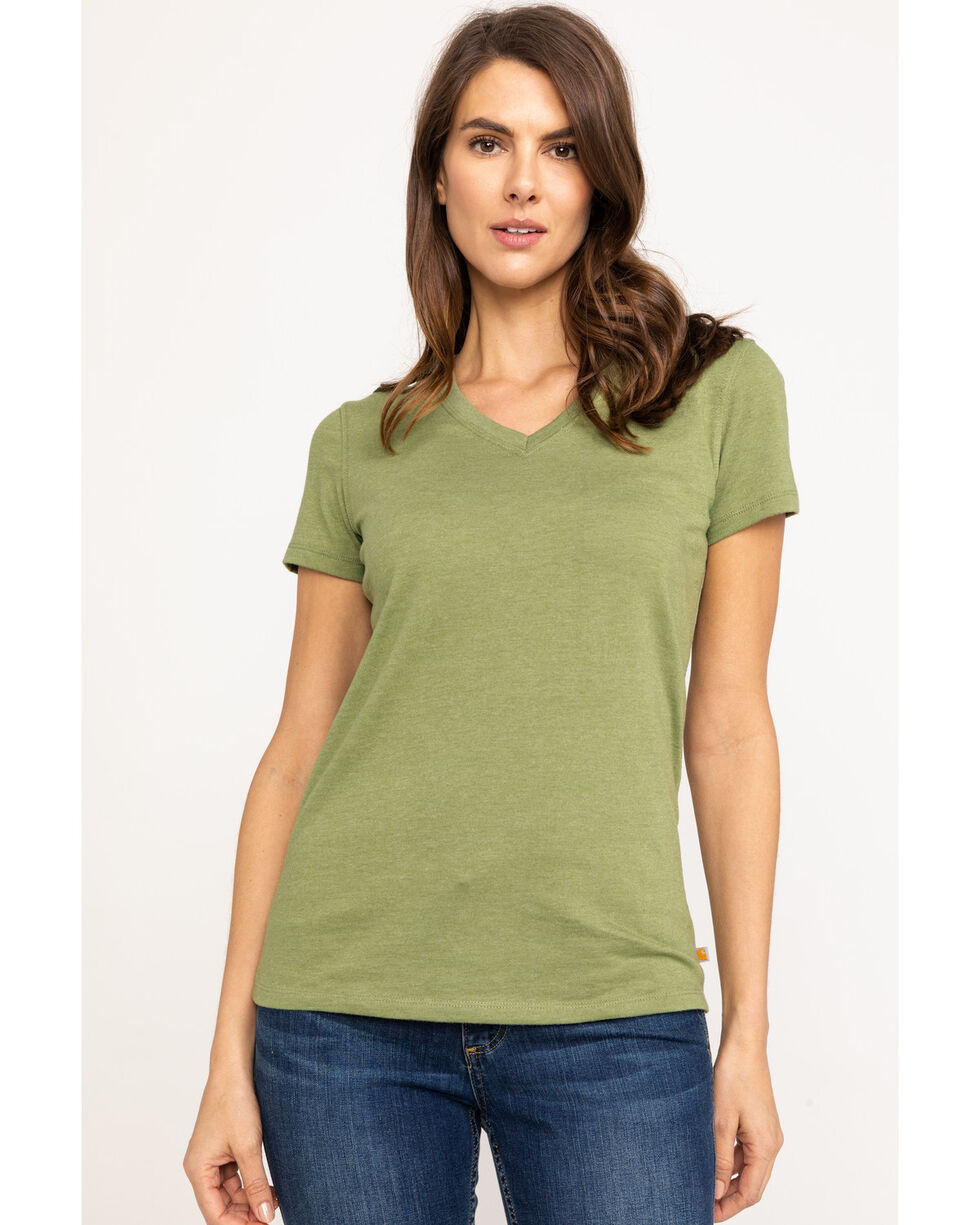 Carhartt Women's Green Lockhart V-Neck Short Sleeve T-Shirt, Green, hi-res