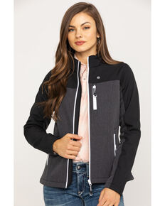 Roper Women's Grey Contrast Softshell Jacket, Grey, hi-res