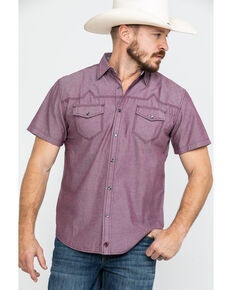Moonshine Spirit Men's Bloodline Textured Solid Short Sleeve Western Shirt , Burgundy, hi-res