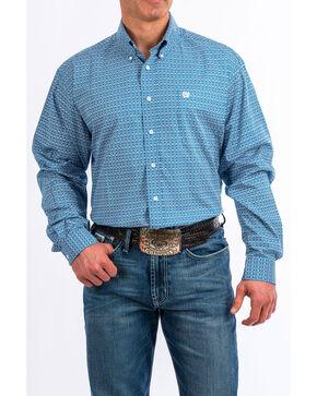 Cinch Men's Blue Dot Geo Print Long Sleeve Western Shirt , Blue, hi-res