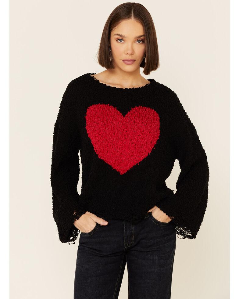 POL Women's Heart Popcorn Chenille Boxy Sweater, Black, hi-res