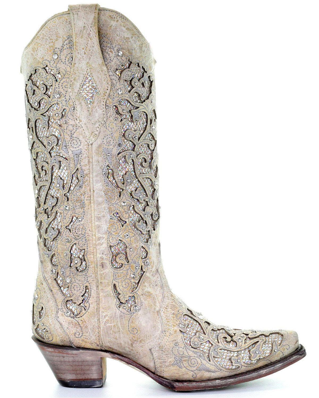 Corral Women's White Glitter Inlay