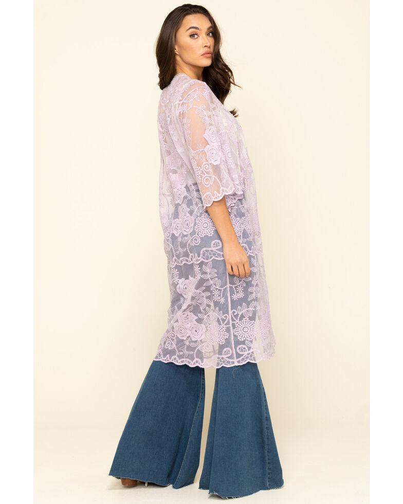 Shyanne Women's Lace Duster Kimono, Lavender, hi-res