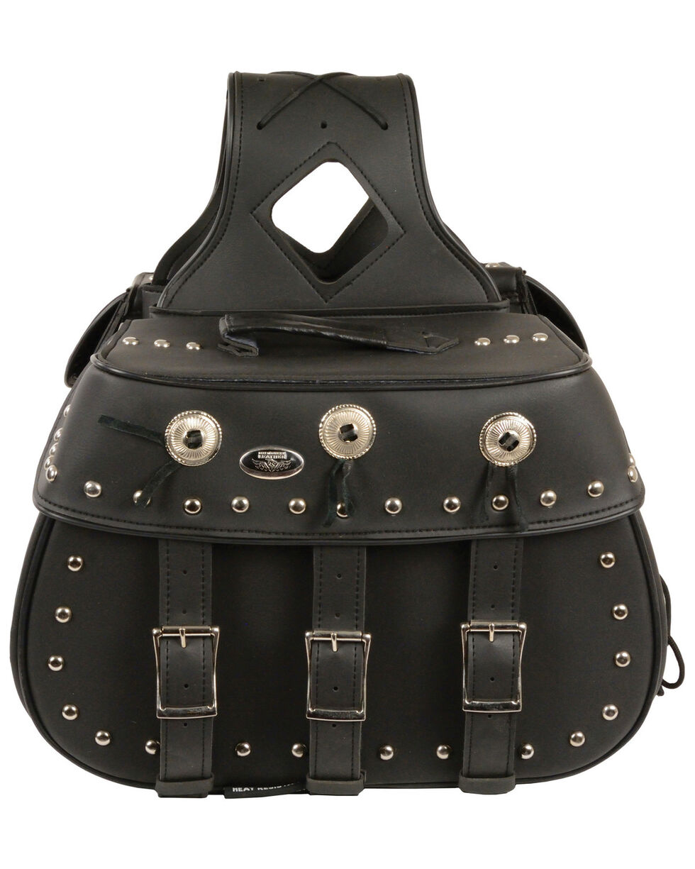 Milwaukee Leather Zip-Off Triple Buckle Throw Over Saddle Bag with Studs & Conchos, Black, hi-res