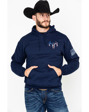 Buck Wear Men's American Flag Pack Graphic Hoodie , Navy, hi-res