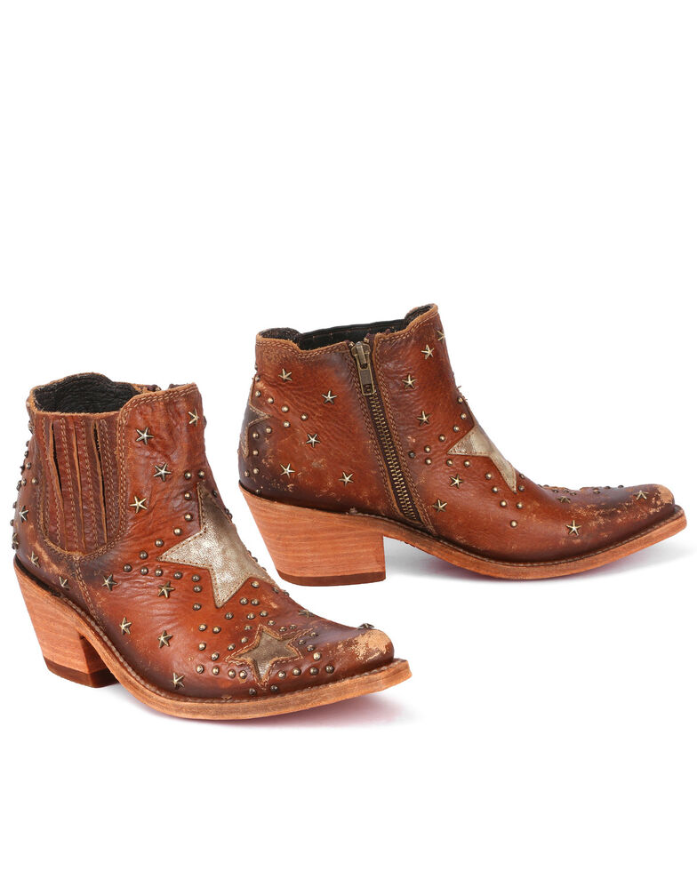 Liberty Black Women's Metallic Star Fashion Booties - Snip Toe, Cognac, hi-res