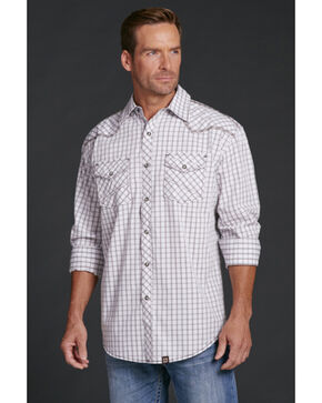 Cowboy Up Men's Plaid Snap Shirt, White, hi-res