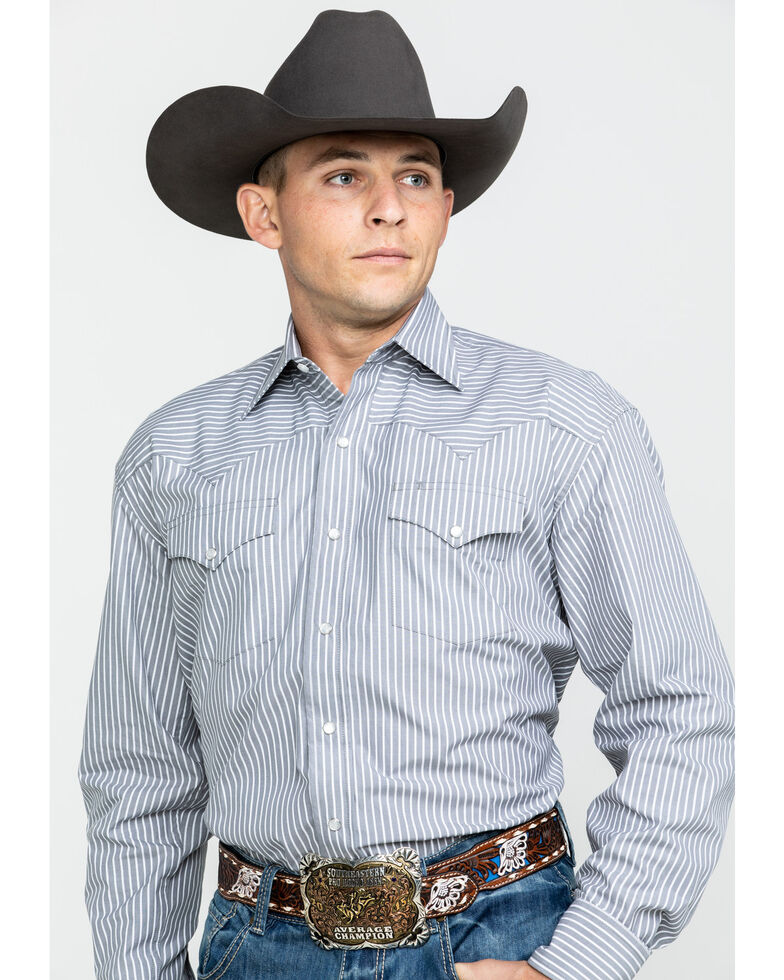 Stetson Men's Grey Striped Two Pocket Long Sleeve Western Shirt, Grey, hi-res