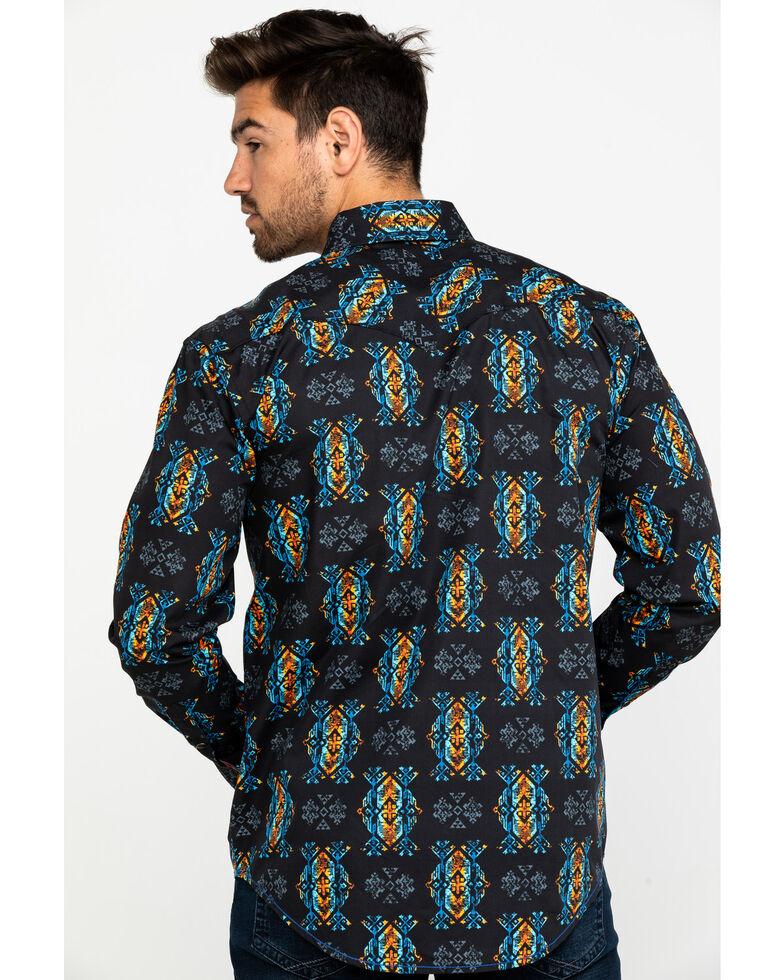 Rough Stock by Panhandle Men's Taconic Aztec Print Long Sleeve Western Shirt , Black, hi-res