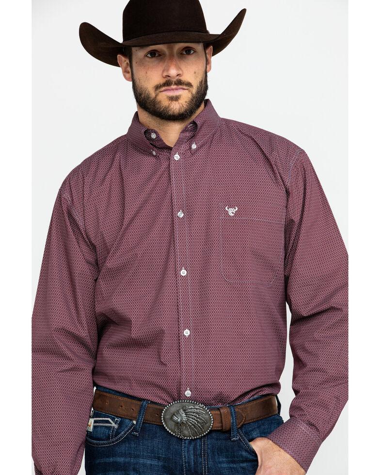 Cowboy Hardware Men's Zig Zag Print Long Sleeve Western Shirt , Burgundy, hi-res