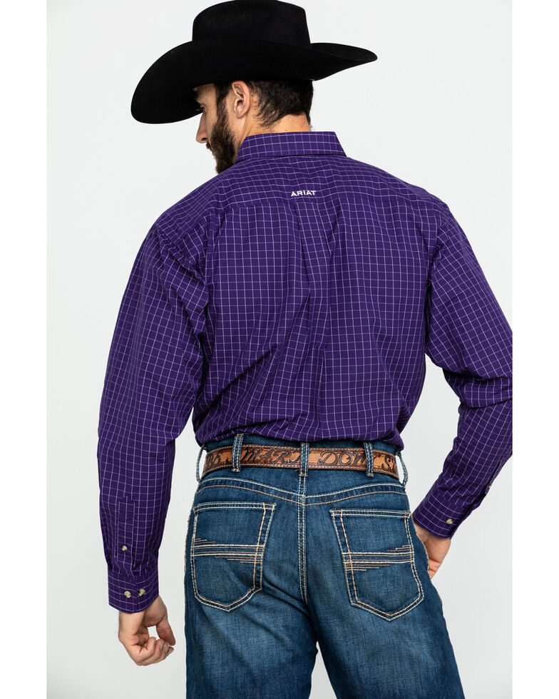 Ariat Men's Purple Plaid Tailgate Long Sleeve Western Shirt - Big , Purple, hi-res