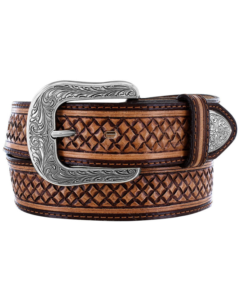 Justin Men's Ruidoso Canyon Western Belt, Brown, hi-res