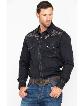 Rock & Roll Cowboy Men's Solid Snow Washed Twill Long Sleeve Western Shirt , Black, hi-res