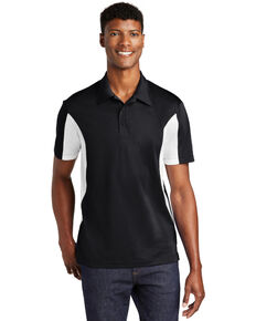 Sport Tek Men's Black & White Side Color Blocked Sport Wick Short Sleeve Polo Work Shirt , White, hi-res