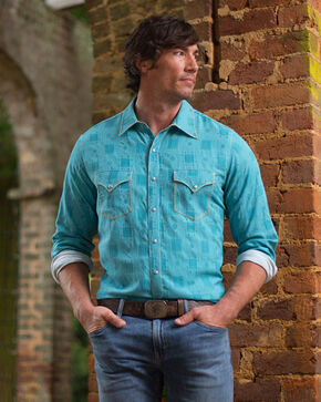 Ryan Michael Men's Topaz Whip Stitch Tile Jacquard Shirt , Bright Blue, hi-res