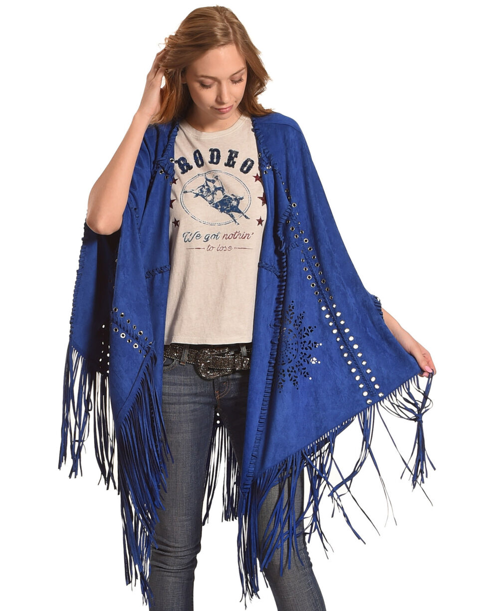Tesoro Moda Women's Royal Blue Fringe Shawl , Royal Blue, hi-res