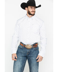 Cody James Core Men's Rock Salt Geo Print Long Sleeve Western Shirt , White, hi-res