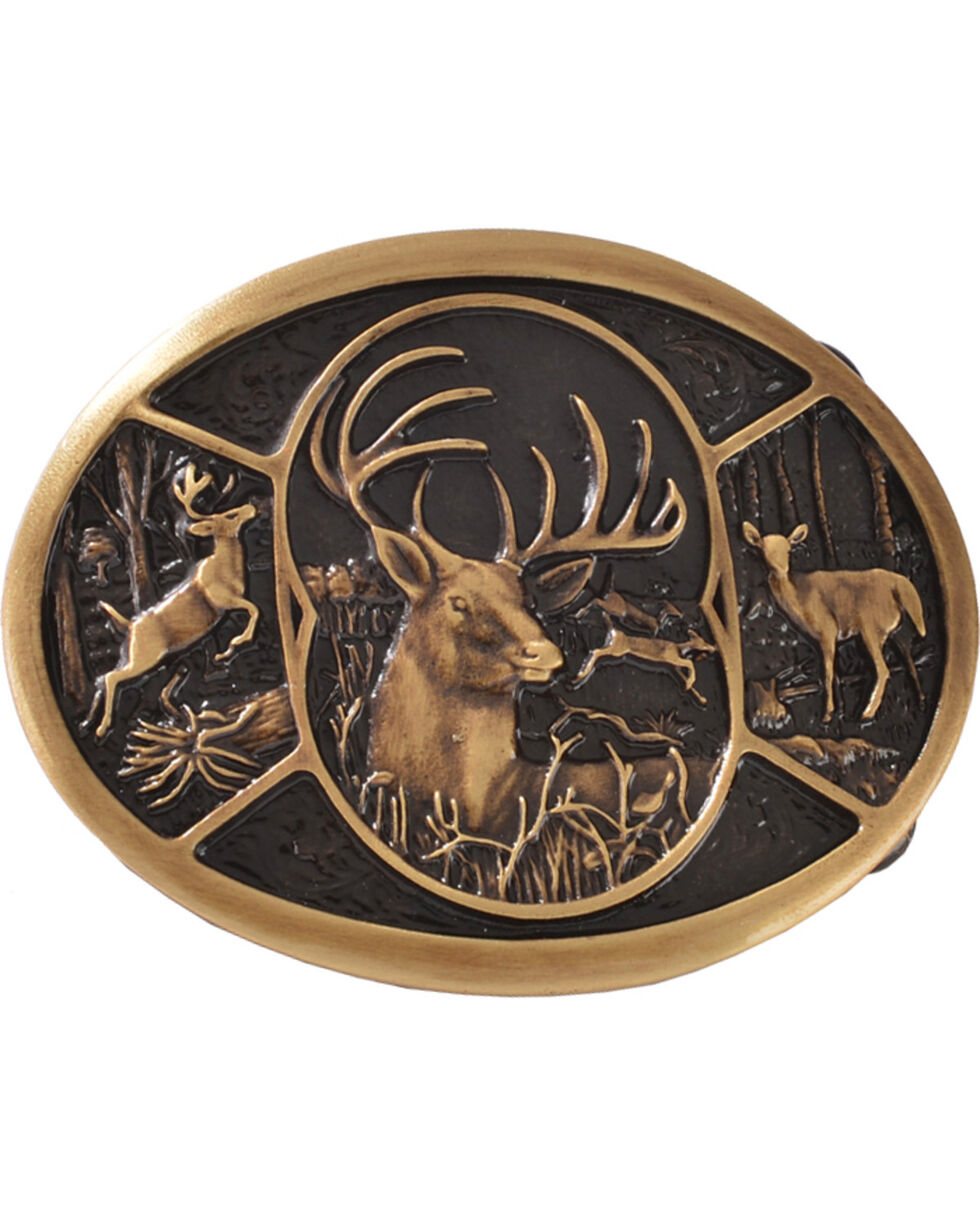 Montana Silversmiths 3 Deer Scene Belt Buckle, Silver, hi-res