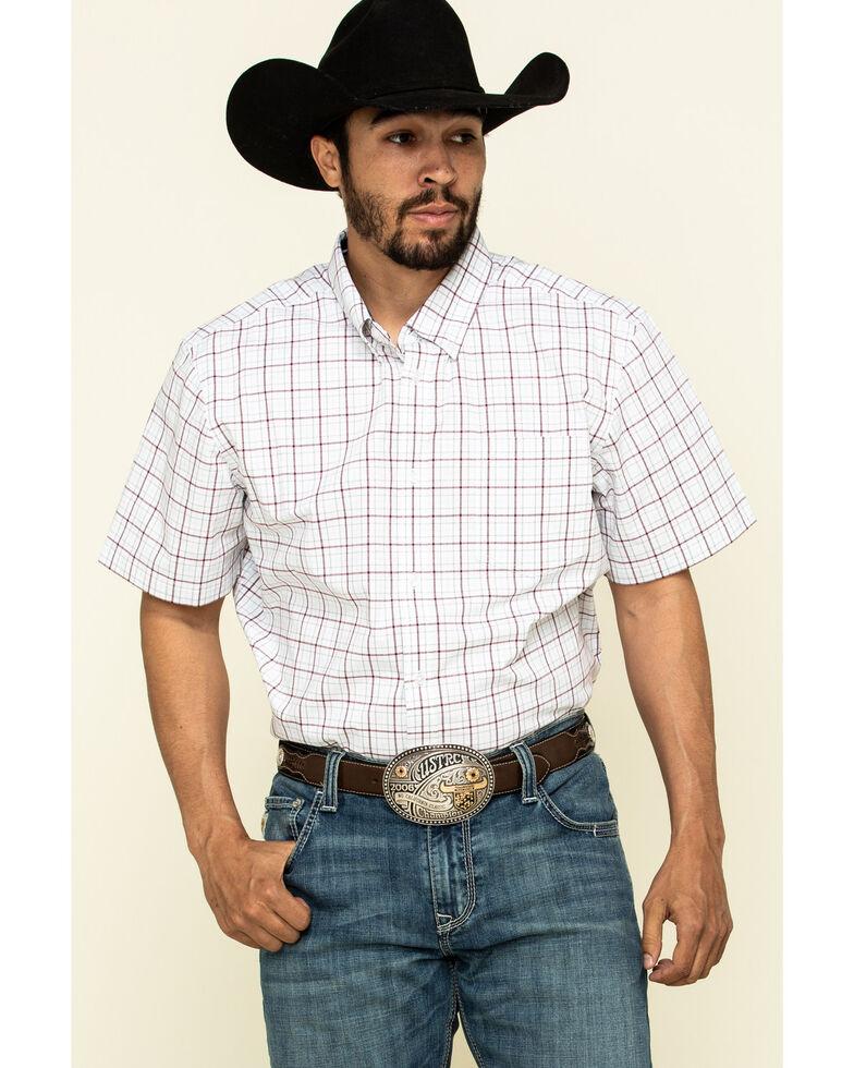 Cody James Core Men's Badlands Small Plaid Short Sleeve Western Shirt - Tall , Maroon, hi-res
