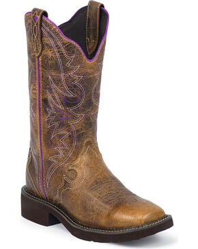"Justin Women's 12"" Gypsy Western Boots, Brown, hi-res"
