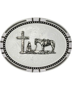 Montana Silversmiths New Traditions Four Directions Christian Cowboy Belt Buckle, Silver, hi-res
