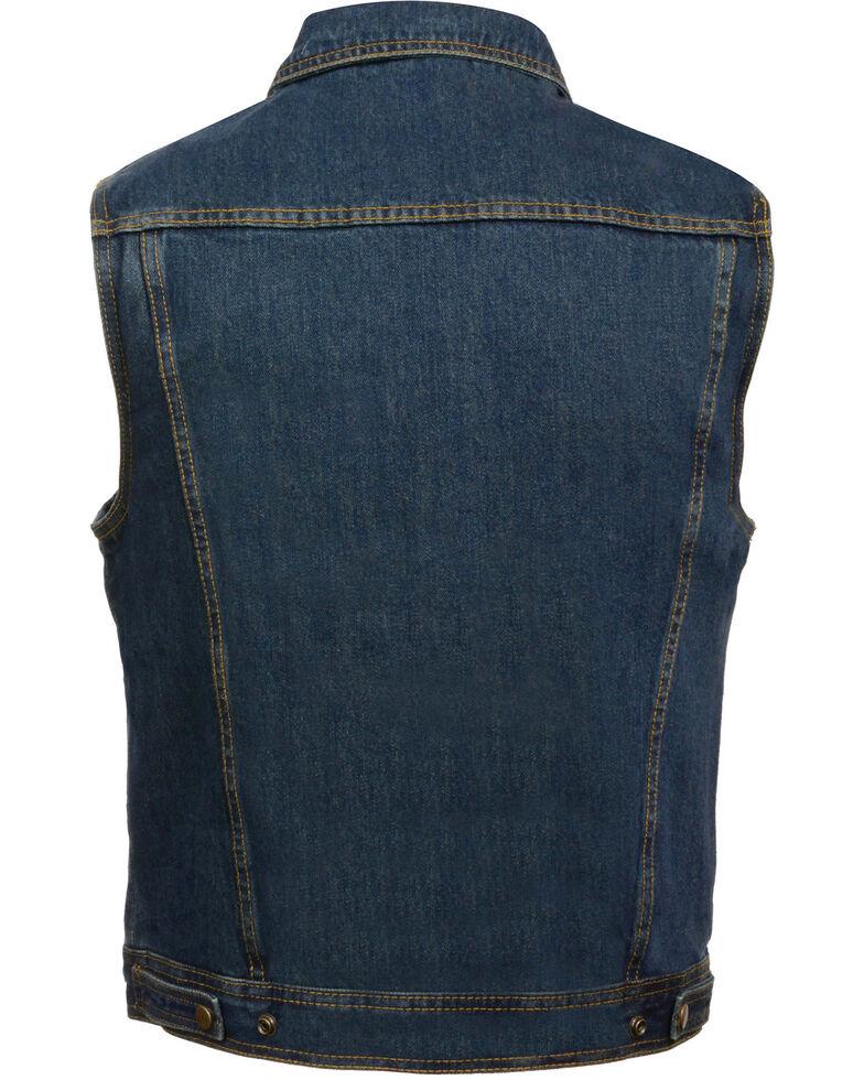 Milwaukee Leather Men's Snap Front Denim Vest w/ Shirt Collar- Big - 5X, , hi-res