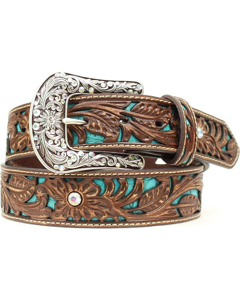 Ariat Women's Turquoise Inlay Floral Tooled Belt, Brown, hi-res