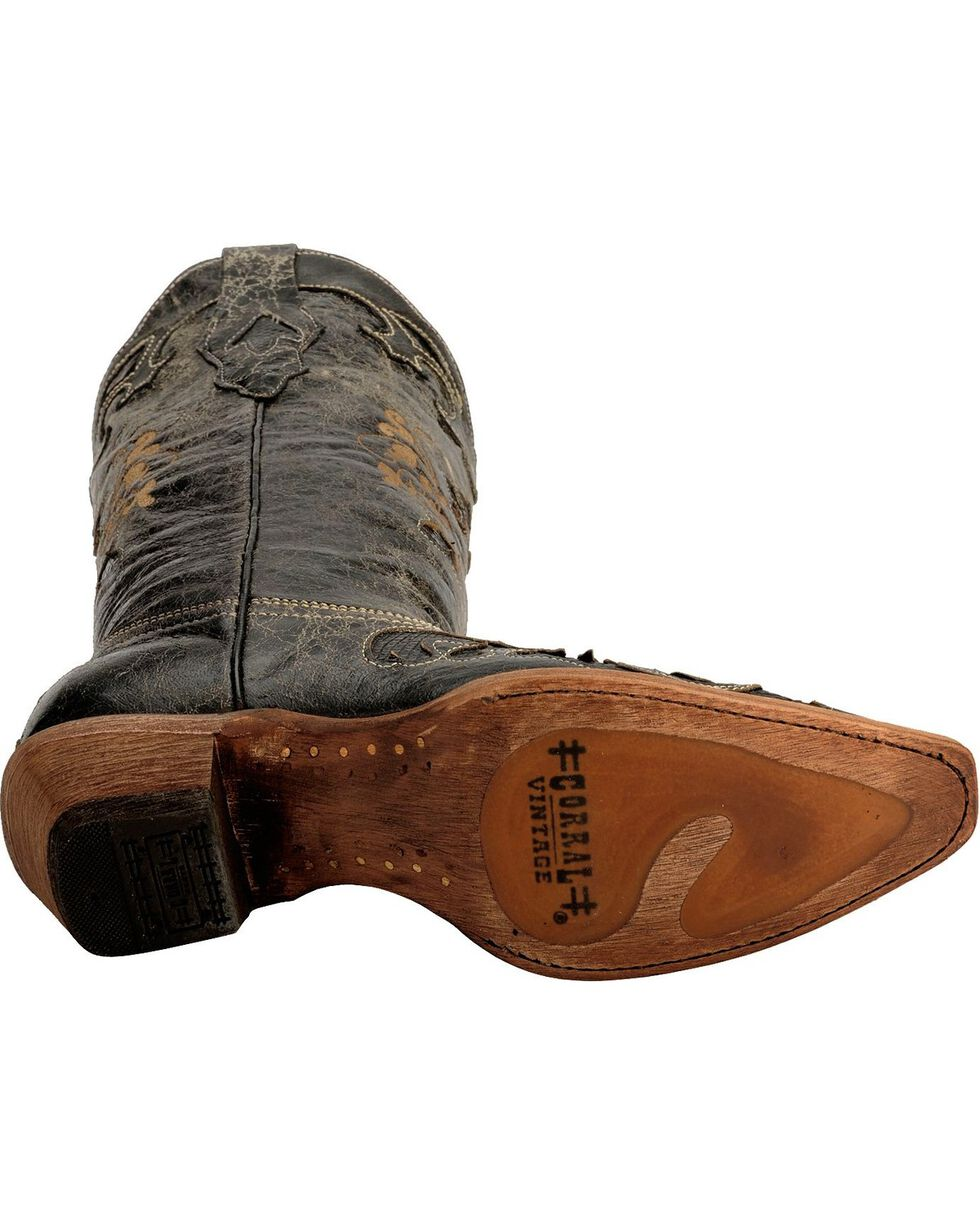 Corral Women's Lizard Inlay Snip Toe Exotic Boots, Black, hi-res