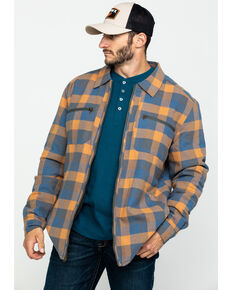 Hawx® Men's Khaki Sherpa Lined Plaid Zip Front Shirt Work Jacket , Beige/khaki, hi-res