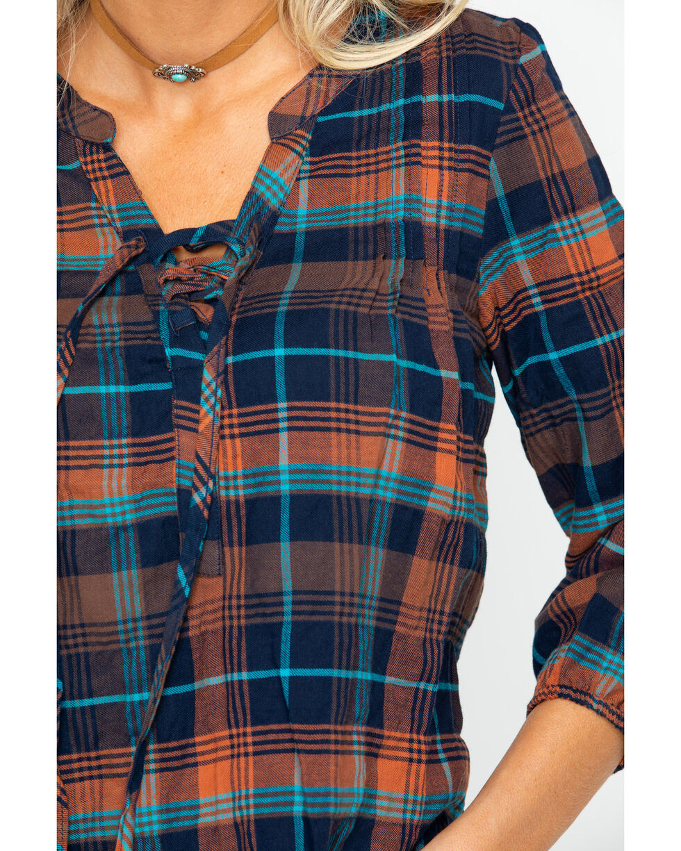 Shyanne Women's Multi Plaid Lace Up Shirt , Multi, hi-res