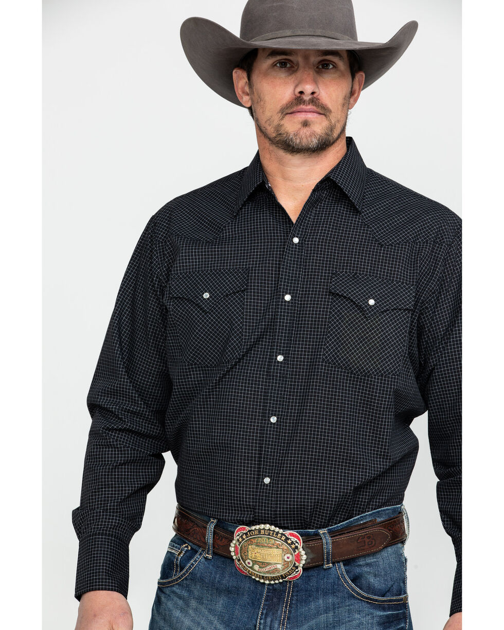 Ely Cattleman Men's Check Plaid Long Sleeve Western Shirt , Black, hi-res