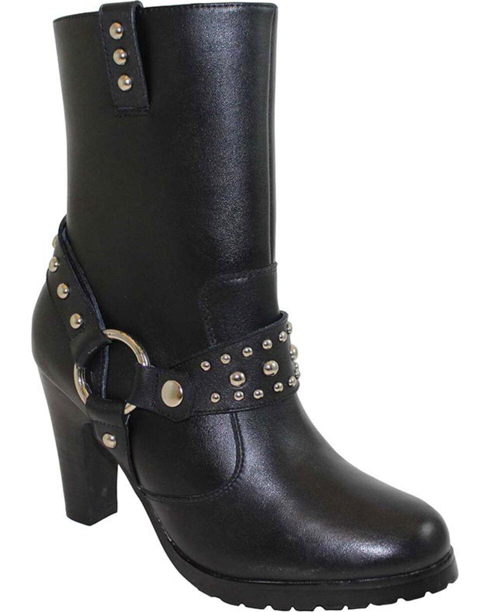 Ad Tec Women's Side Zip Motorcycle Boots, Black, hi-res
