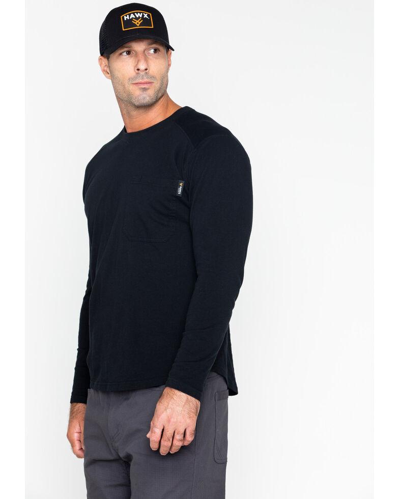 Hawx Men's Solid Pocket Crew Long Sleeve Work T-Shirt , Black, hi-res