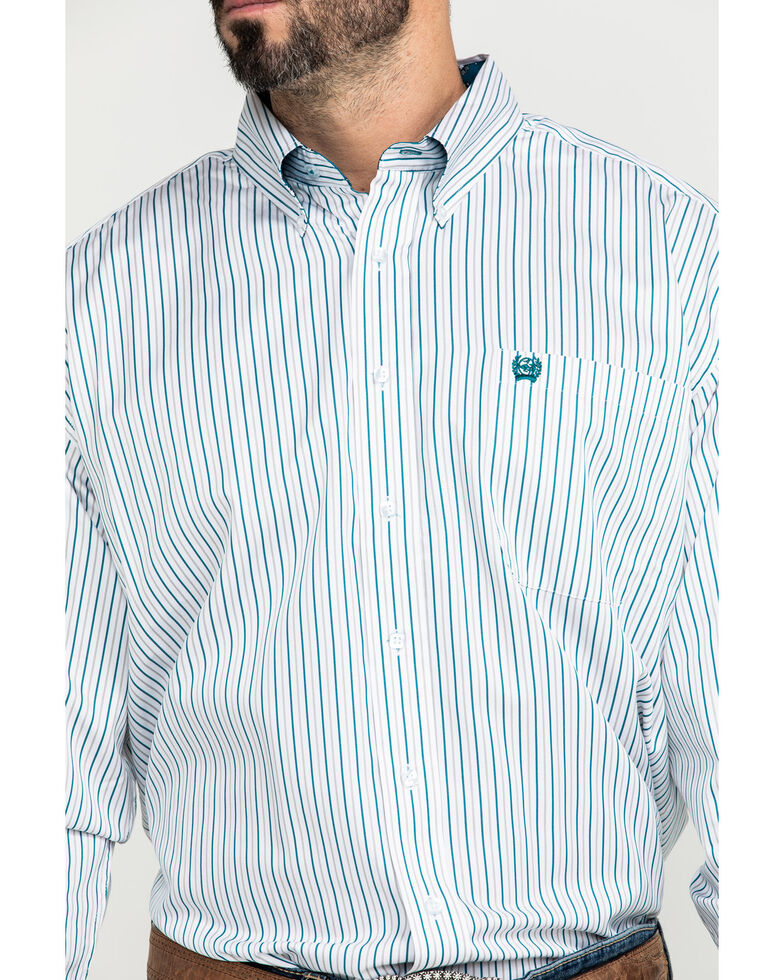 Cinch Men's Tencel White Stripe Long Sleeve Western Shirt , White, hi-res