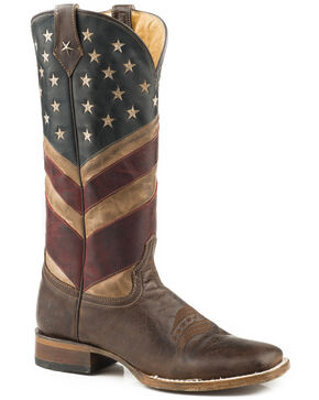 Roper Women's Old Glory American Flag Cowgirl Boots - Square Toe, Brown, hi-res