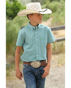Cinch Boys' Geo Print Short Sleeve Western Shirt , Multi, hi-res