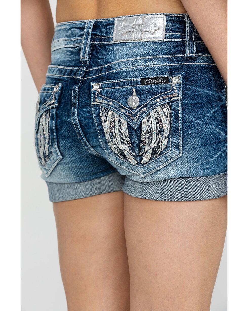 Miss Me Women's Fly High Cuffed Shorts, Medium Blue, hi-res