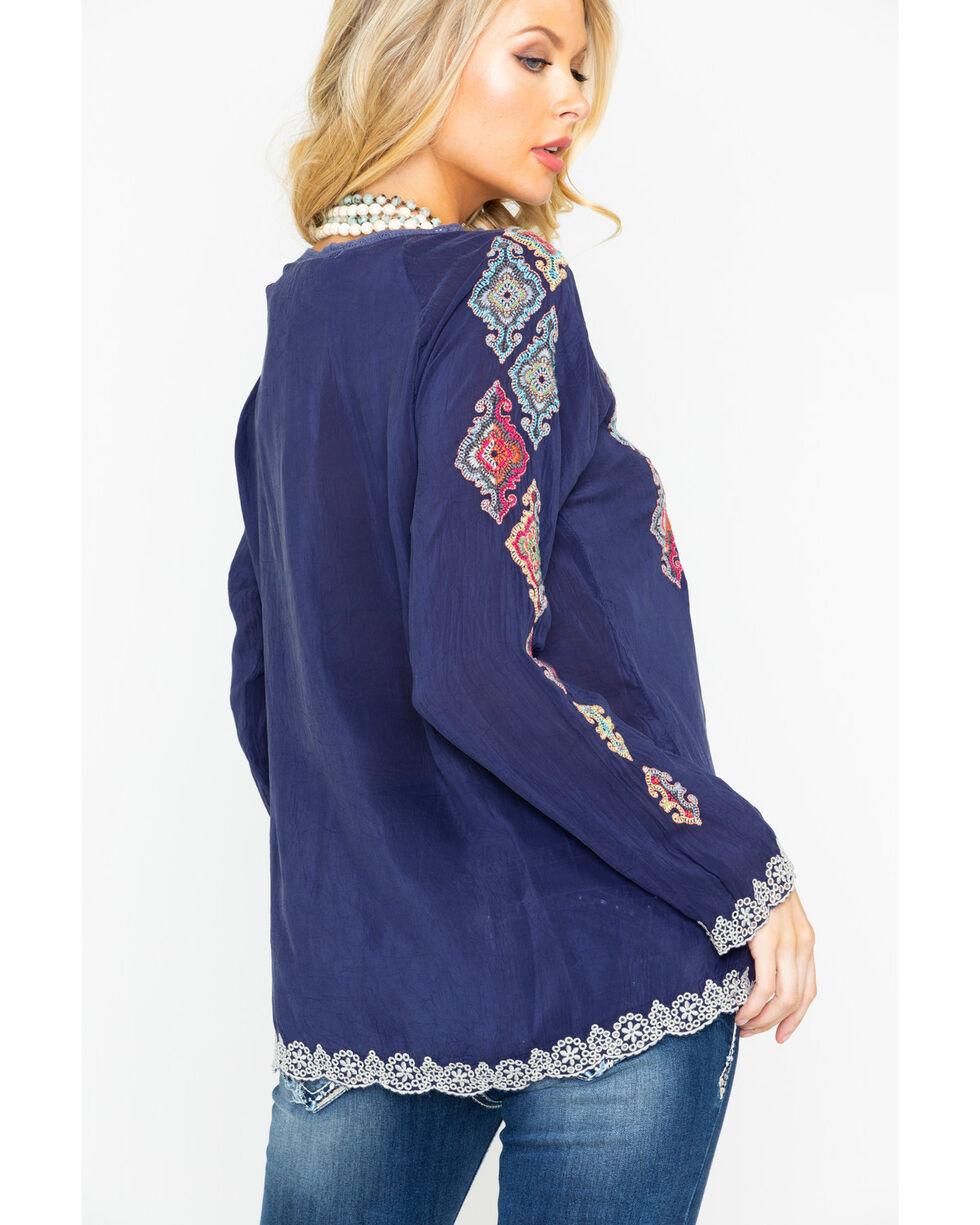 Johnny Was Women's Kikumi Embroidered Long Sleeve Blouse  , Dark Blue, hi-res