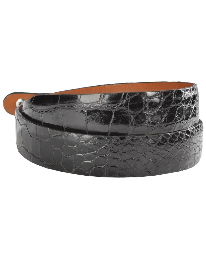 Lucchese Men's Black Alligator Leather Belt, Black, hi-res