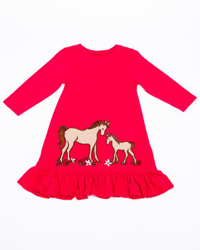 Shyanne Toddler Girls' Horse & Foal Applique Knit Top, Burgundy, hi-res