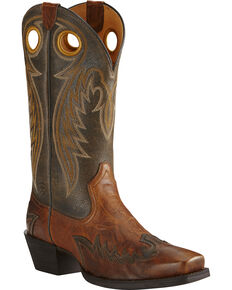 Ariat Men's Rival Square Toe Western Boots, Brown, hi-res