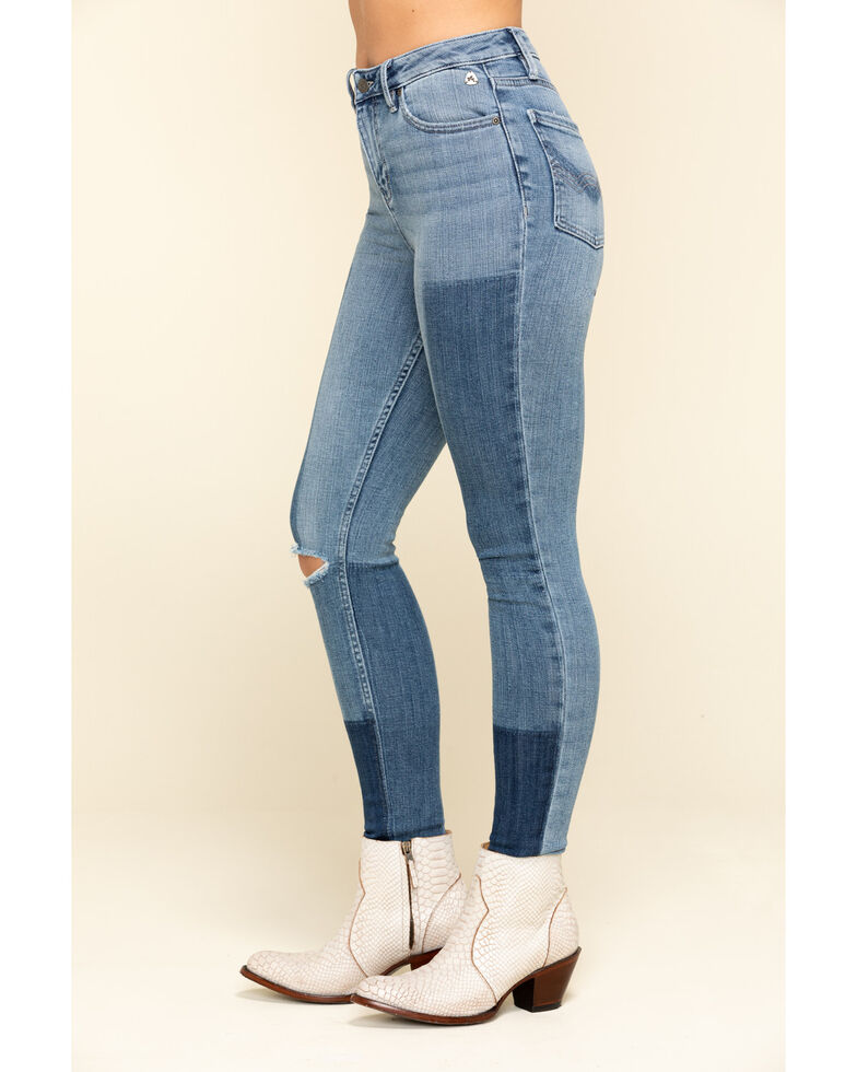 Idyllwind Women's High Risin' High Rise Laser Shadow Patches Skinny Jeans , Blue, hi-res