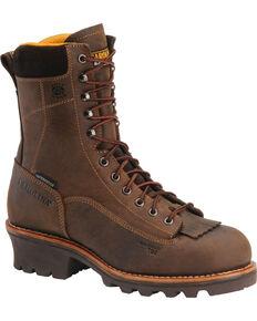 "Carolina Men's 8"" Waterproof Logger Work Boots, Brown, hi-res"
