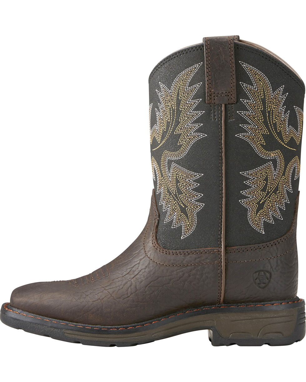 Ariat Youth Boys' Workhog Bruin Western Boots, Brown, hi-res