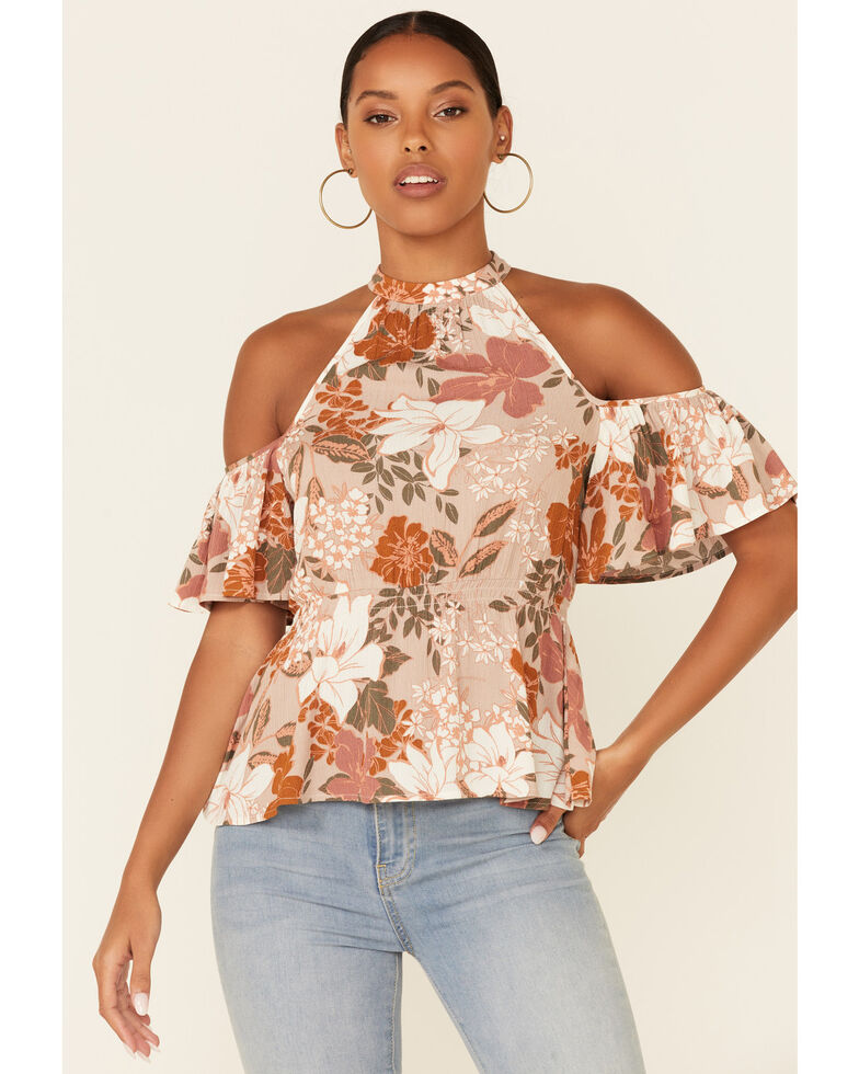Shyanne Women's Floral Print Cold Shoulder Flounce Short Sleeve Top, Tan, hi-res